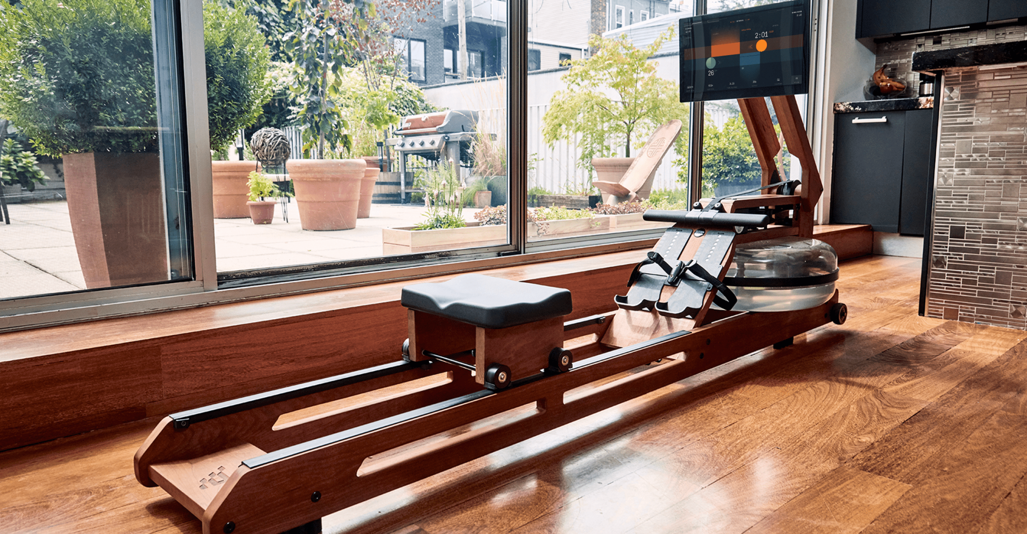 rower in living area