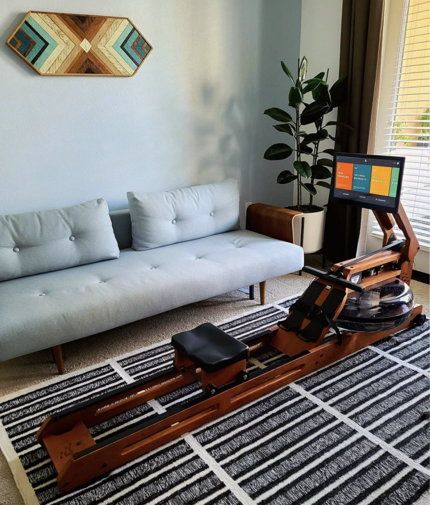 empty rower by couch